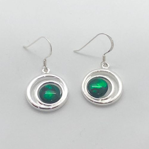 Paua Green Earrings - Small Double Swirl Circle PE17-SC